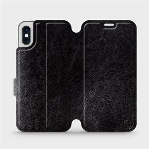 Flipové pouzdro Mobiwear na mobil Apple iPhone XS v provedení C_BLS Black&Gray s šedým vnitřkem