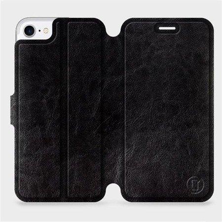 Parádní flip pouzdro Mobiwear na mobil Apple iPhone 7 v provedení C_BLS Black&Gray s šedým vnitřkem