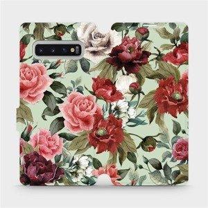 Flipové pouzdro Mobiwear na mobil Samsung Galaxy S10 Plus - MD06P Růže a květy na světle zeleném pozadí