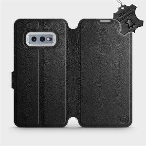 Luxusní flip pouzdro Mobiwear na mobil Samsung Galaxy S10e - Černé - kožené - L_BLS Black Leather - výprodej