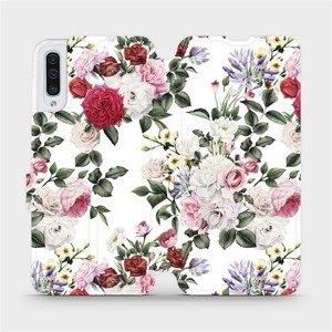 Flipové pouzdro Mobiwear na mobil Samsung Galaxy A50 - MD01S Růže na bílé