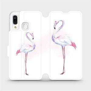 Flipové pouzdro Mobiwear na mobil Samsung Galaxy A40 - M005S Plameňáci