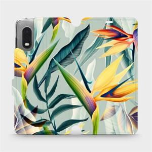 Flipové pouzdro Mobiwear na mobil Samsung Xcover PRO - MC02S Žluté velké květy a zelené listy