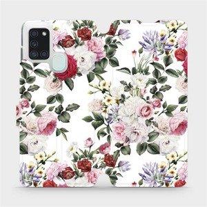 Flipové pouzdro Mobiwear na mobil Samsung Galaxy A21S - MD01S Růže na bílé