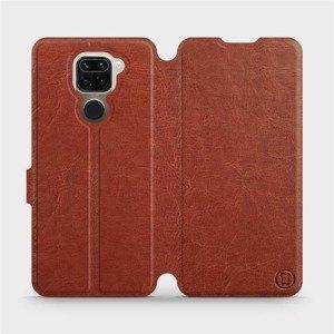 Flipové pouzdro Mobiwear na mobil Xiaomi Redmi Note 9 v provedení C_BRP Brown&Orange s oranžovým vnitřkem