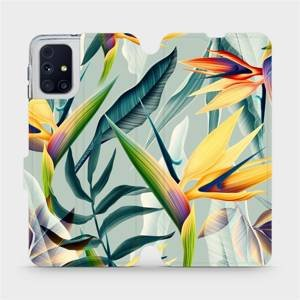 Flipové pouzdro Mobiwear na mobil Samsung Galaxy M31s - MC02S Žluté velké květy a zelené listy