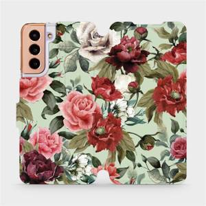 Flipové pouzdro Mobiwear na mobil Samsung Galaxy S21 5G - MD06P Růže a květy na světle zeleném pozadí