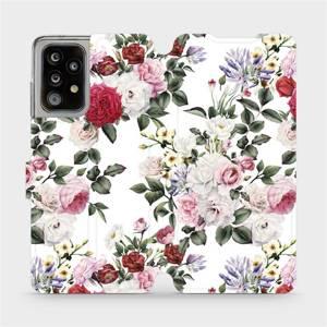 Parádní flip pouzdro Mobiwear na mobil Samsung Galaxy A52 5G / LTE - MD01S Růže na bílé