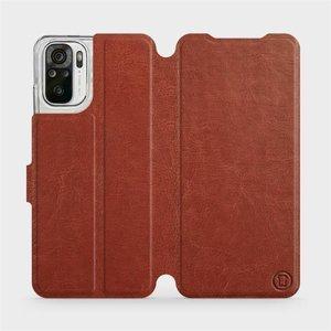 Flipové pouzdro Mobiwear na mobil Xiaomi Redmi Note 10 v provedení C_BRP Brown&Orange s oranžovým vnitřkem