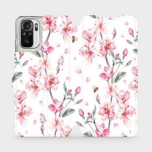 Flipové pouzdro Mobiwear na mobil Xiaomi Redmi Note 10S - M124S Růžové květy
