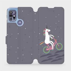 Flipové pouzdro Mobiwear na mobil Motorola Moto G30 - V024P Jednorožec na kole