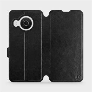 Flip pouzdro Mobiwear na mobil Nokia X10 v provedení C_BLS Black&Gray s šedým vnitřkem