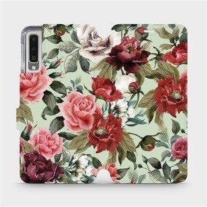 Flipové pouzdro Mobiwear na mobil Samsung Galaxy A7 2018 - MD06P Růže a květy na světle zeleném pozadí