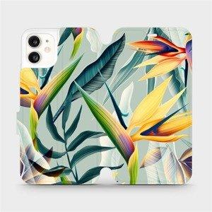 Flipové pouzdro Mobiwear na mobil Apple iPhone 11 - MC02S Žluté velké květy a zelené listy