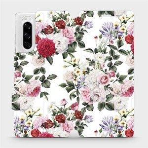 Flipové pouzdro Mobiwear na mobil Sony Xperia 5 - MD01S Růže na bílé