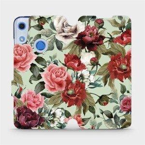 Flipové pouzdro Mobiwear na mobil Huawei Y6S - MD06P Růže a květy na světle zeleném pozadí