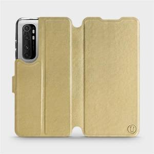 Flipové pouzdro Mobiwear na mobil Xiaomi Mi Note 10 Lite v provedení C_GOS Gold&Gray s šedým vnitřkem