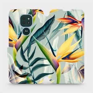 Flipové pouzdro Mobiwear na mobil Motorola Moto G9 Play - MC02S Žluté velké květy a zelené listy