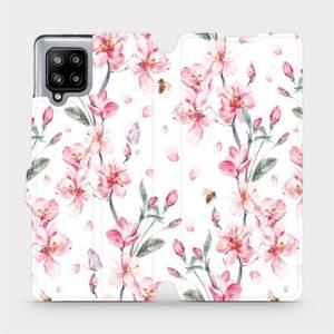 Flipové pouzdro Mobiwear na mobil Samsung Galaxy A42 5G - M124S Růžové květy