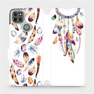 Flipové pouzdro Mobiwear na mobil Motorola Moto G9 Power - M003S Lapač a barevná pírka