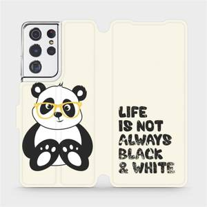 Flipové pouzdro Mobiwear na mobil Samsung Galaxy S21 Ultra 5G - M041S Panda - life is not always black and white