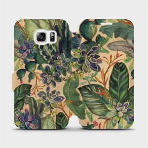 Flip pouzdro Mobiwear na mobil Samsung Galaxy S6 - VP05S Sukulenty