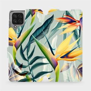 Flip pouzdro Mobiwear na mobil Samsung Galaxy M22 - MC02S Žluté velké květy a zelené listy