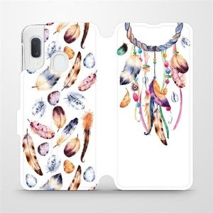Flipové pouzdro Mobiwear na mobil Samsung Galaxy A20e - M003S Lapač a barevná pírka