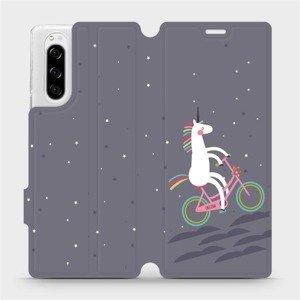 Flipové pouzdro Mobiwear na mobil Sony Xperia 5 - V024P Jednorožec na kole