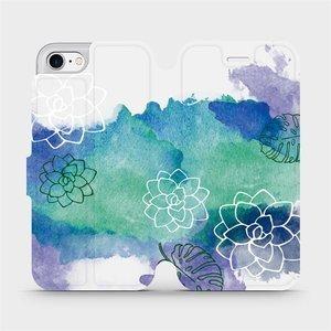 Parádní flip pouzdro Mobiwear na mobil Apple iPhone SE 2020 - MG11S Vodovkové květy