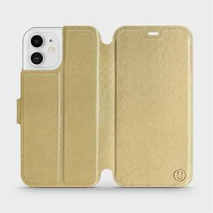 Flipové pouzdro Mobiwear na mobil Apple iPhone 12 v provedení C_GOP Gold&Orange s oranžovým vnitřkem