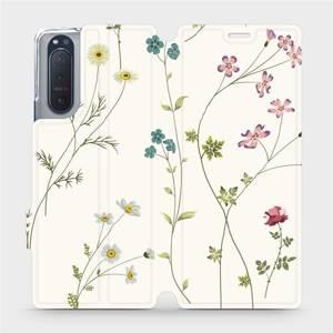 Flipové pouzdro Mobiwear na mobil Sony Xperia 5 II - MD03S Tenké rostlinky s květy