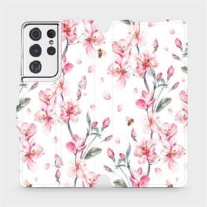 Flipové pouzdro Mobiwear na mobil Samsung Galaxy S21 Ultra 5G - M124S Růžové květy
