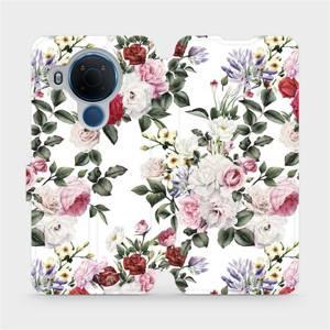 Flipové pouzdro Mobiwear na mobil Nokia 5.4 - MD01S Růže na bílé