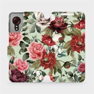 Flipové pouzdro Mobiwear na mobil Samsung Galaxy Xcover 5 - MD06P Růže a květy na světle zeleném pozadí