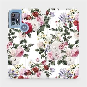 Flipové pouzdro Mobiwear na mobil Motorola Moto G20 - MD01S Růže na bílé