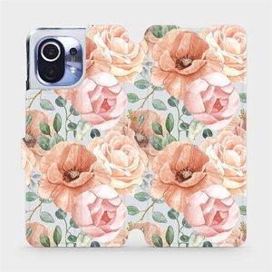 Flip pouzdro Mobiwear na mobil Xiaomi Mi 11 - MP02S Pastelové květy