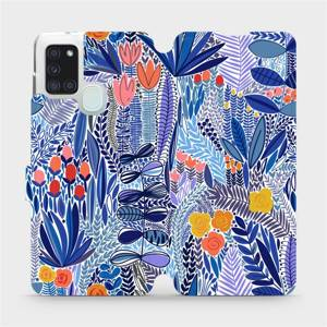Flip pouzdro Mobiwear na mobil Samsung Galaxy A21S - MP03P Modrá květena