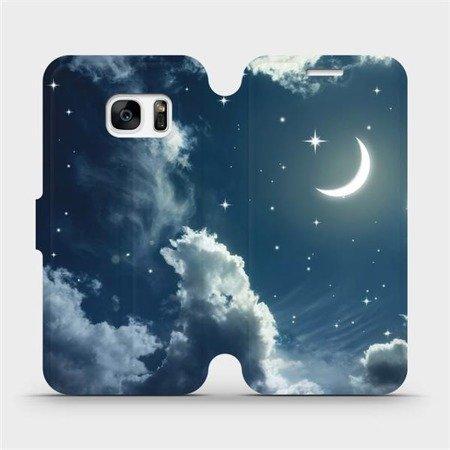 Flipové pouzdro Mobiwear na mobil Samsung Galaxy S7 - V145P Noční obloha s měsícem