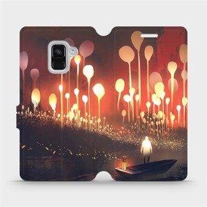 Flipové pouzdro Mobiwear na mobil Samsung Galaxy A8 2018 - VA01S Lampiony a muž v lodičce