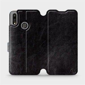 Flipové pouzdro Mobiwear na mobil Huawei P Smart 2019 v provedení C_BLS Black&Gray s šedým vnitřkem