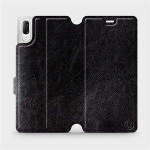 Flipové pouzdro Mobiwear na mobil Sony Xperia L3 v provedení C_BLS Black&Gray s šedým vnitřkem