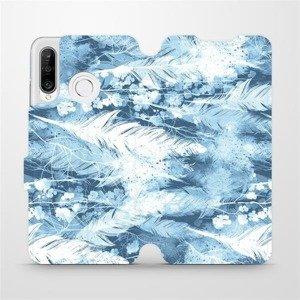 Flipové pouzdro Mobiwear na mobil Huawei P30 Lite - M058S Světle modrá horizontální pírka