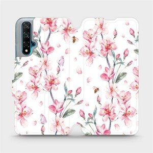 Flipové pouzdro Mobiwear na mobil Huawei Nova 5T - M124S Růžové květy