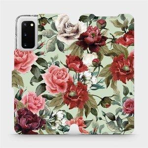 Flipové pouzdro Mobiwear na mobil Samsung Galaxy S20 - MD06P Růže a květy na světle zeleném pozadí