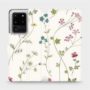 Flipové pouzdro Mobiwear na mobil Samsung Galaxy S20 Ultra - MD03S Tenké rostlinky s květy
