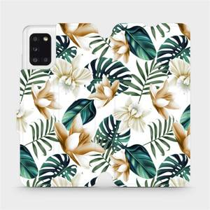 Flipové pouzdro Mobiwear na mobil Samsung Galaxy A31 - MC07P Zlatavé květy a zelené listy