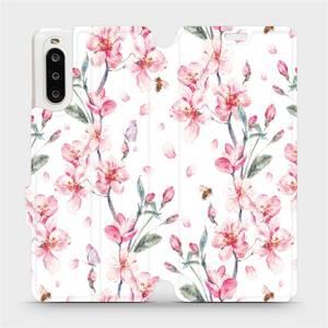 Flipové pouzdro Mobiwear na mobil Sony Xperia 10 II - M124S Růžové květy