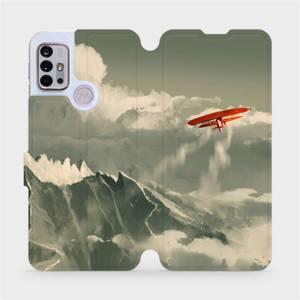 Flipové pouzdro Mobiwear na mobil Motorola Moto G10 - MA03P Oranžové letadlo v horách