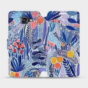 Flip pouzdro Mobiwear na mobil Samsung Galaxy A5 2016 - MP03P Modrá květena